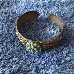 Faux silver colored turquoise cuff/bangle bracelet